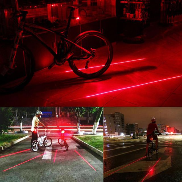 2 Laser 5 LED Rear Cycling Bike Bicycle Tail Light Beam Safety Warning Red Lamp