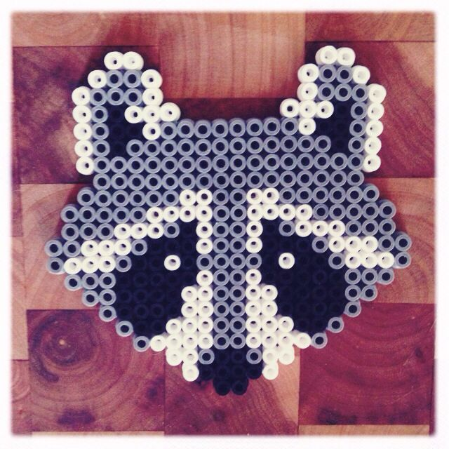 "Hama Beads vs Perler Beads | Hama / perler beads raccoon. *Ideas - User Red Perler/Hamas to write "" Kiss Bandit "" on top and bottom. Frame to use in a Nursery."
