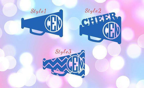 Cheerleading Megaphone Monogram Decal for by StickyFrogDesigns