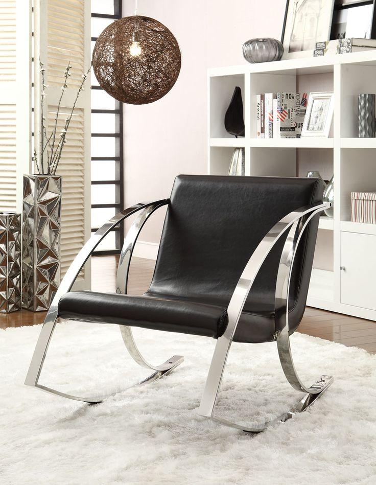 Black Modern Rocking Chair Coaster Furniture in