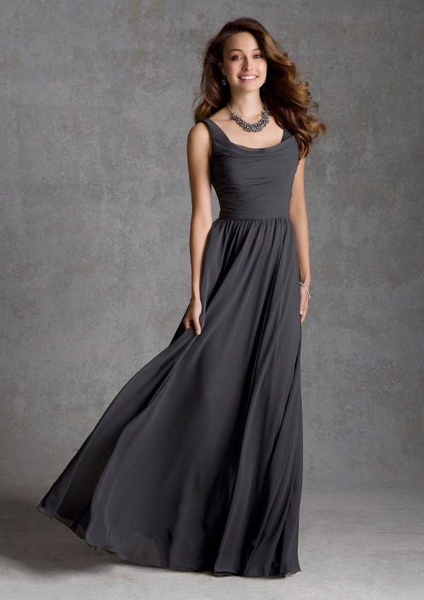 Charcoal Chiffon Bridesmaid Dresses