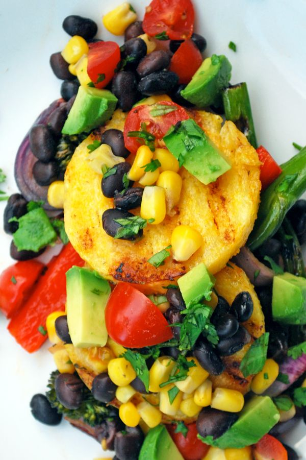 Grilled Polenta Cakes with Oven Roasted Corn and Black Bean Pico de Gallo and Grilled Vegetables