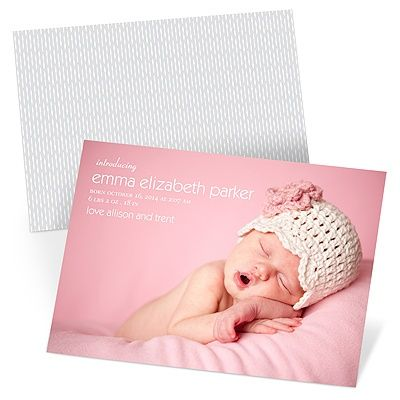 Your baby girl is now the focus of your lives, just as she is the focus of these sweet two-sided birth announcements. A full photo covers the front of these birth announcements, with her name and birth details overprinting the photo.