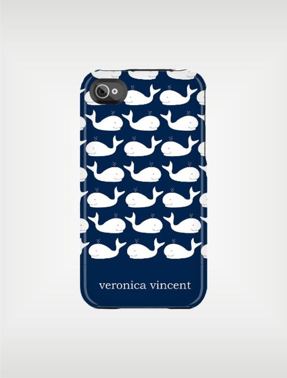 Case of the Week  Personalized iPhone Case 4 / by adropofgoldensun, $38.00Iphone Cases, Navy And White, Nautical Whales, Originals Design, White Whales, Golden Sun, White Nautical, Iphone 5 Cases, Personalized Iphone