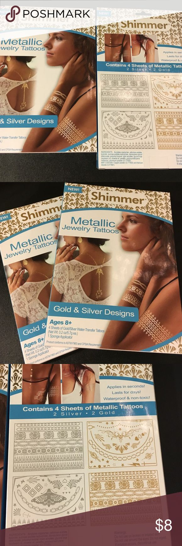 metallic shimmer jewelry tattoos two boxes These are shimmer metallic jewelry tattoos. There are two boxes. Four sheets gold and silver water transfer tattoos with sponge applicator. Each box contains four sheets two silver two gold and there are two boxes. Jewelry