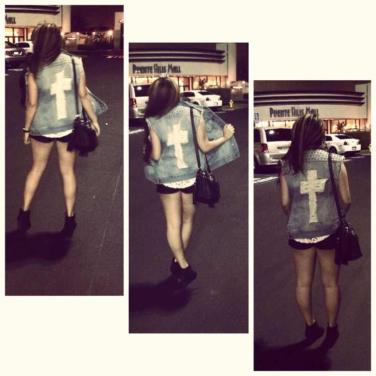 Movie Night outfit Denim vest with destroyed cross Studded shoulders Black booties Fringe purse  Shorts