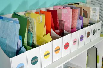 Scrap Paper Storage - I love this idea - I truly hate wasting even the smallest piece of decorative paper, great way to store and see what you have available.
