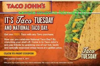 Taco Johns coupons for february 2017