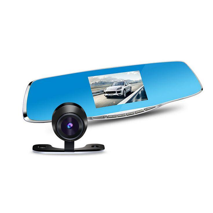"170 degree 4.3"" LCD Dual lens dash cam recorder car rearview mirror camera video registrator camcorder full hd1080p night vision"