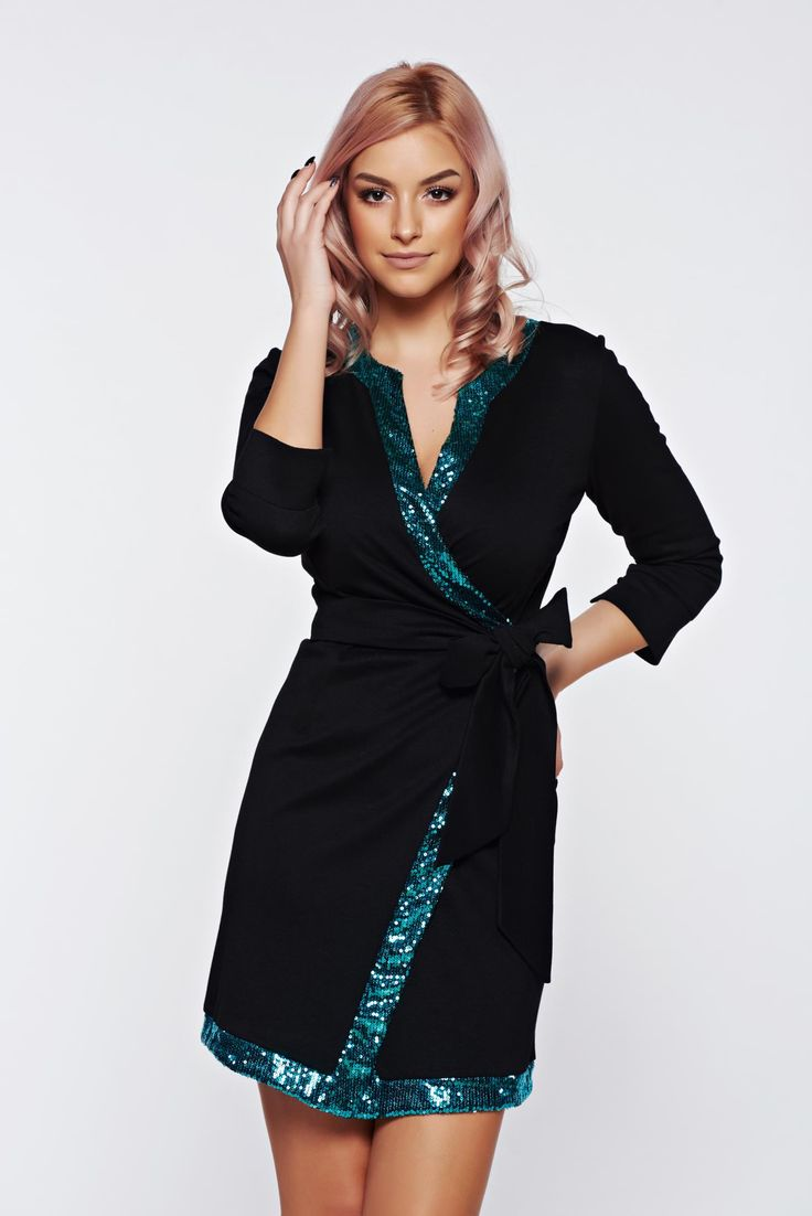 """PrettyGirl turquoise dress elegant wrap around with sequin embellished details, accessorized with tied waistband, sequin embellished details, """"V"""" cleavage, 3/4 sleeves, elastic fabric, wrap around, metal eyelets fastening"""