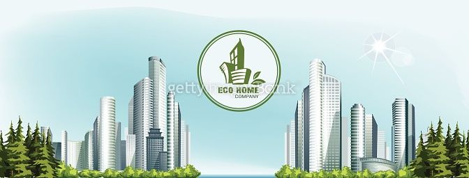 Panorama of vector urban city with forest and eco logo