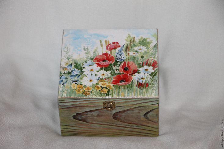 """Купить Шкатулка для чая """"Полевые цветы"""" - короб для хранения, короб, короб для кухни, коробка для мелочей"""