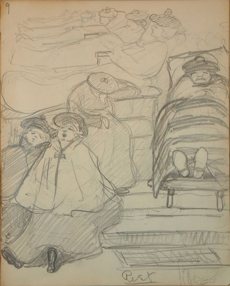 """In 1903 while studying painting in England, Emily Carr was hospitalized at the East Anglian Sanatorium where she stayed for the next eighteen months, diagnosed with hysteria. """"Sketchbook for Pause; Rest,"""" page 9, 1903, McMichael Canadian Art Collection."""