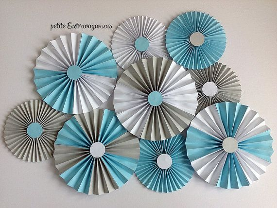 Paper Rosettes/ Fans - Light Blue, Gray, White  It's A Boy Baby Shower Decorations Gender Reveal Decorations