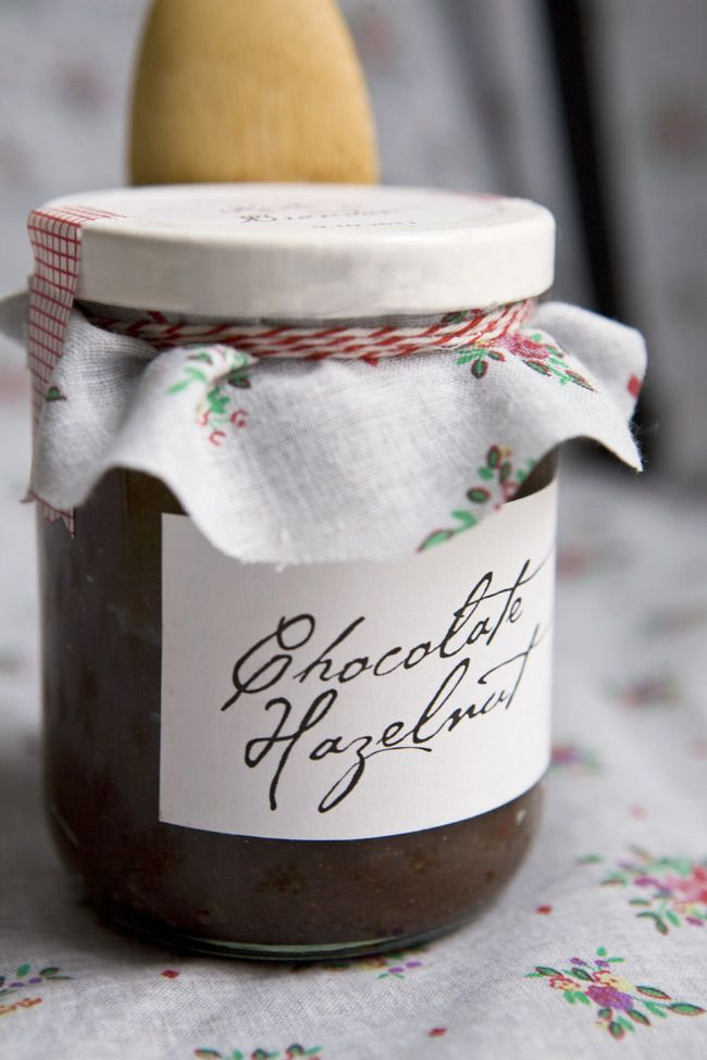 See site for other photo with sticker on top. Jam jar covers, and stickers ideas (Chocolate Hazelnut spread recipe too)