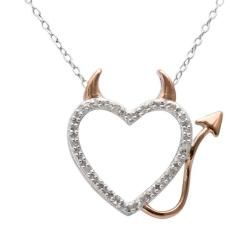 18k Rose Gold over Silver 1/10ct TDW Diamond Heart Necklace (J-K, I3)   Overstock.com Shopping - The Best Deals on Diamond Necklaces