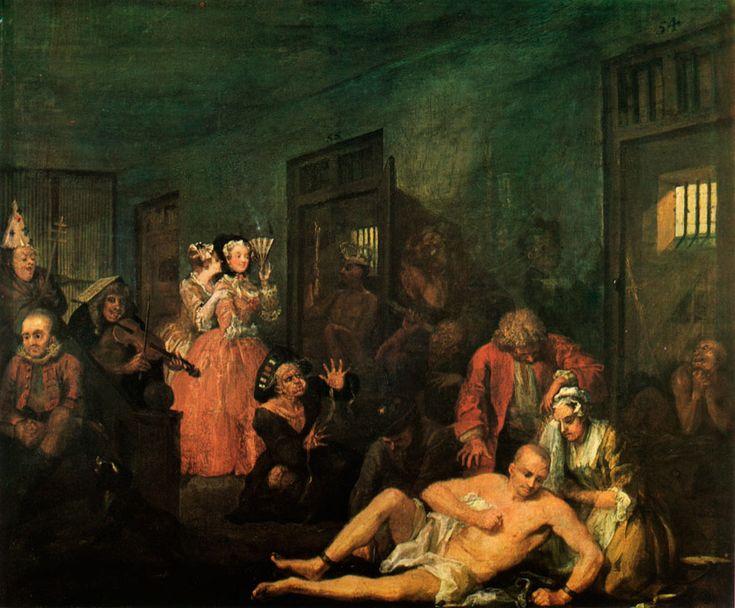 """William Hogarth, """"La carrière d'un roué : La maison de fous"""", 1735"""