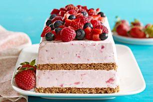 Postre congelado de fresas y frambuesas receta