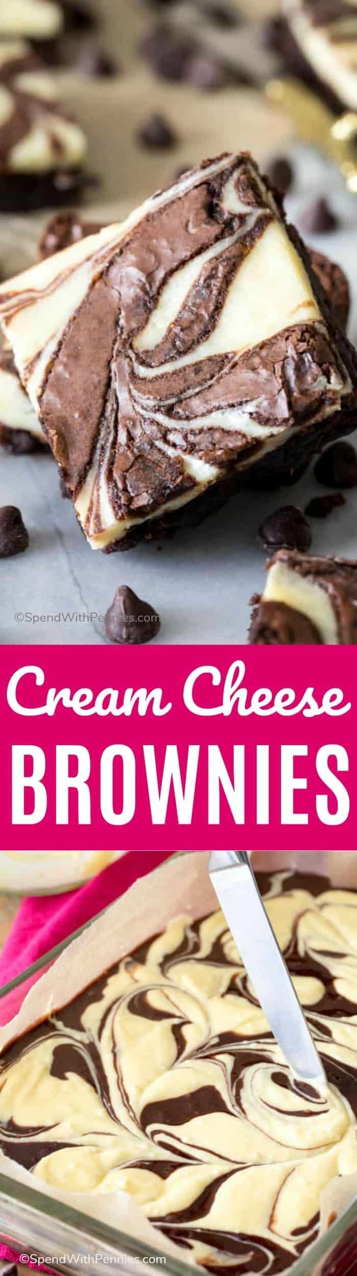 These Cream Cheese Brownies are rich, chocolatey fudgy brownies with a cheesecake ripple!  You can use the from-scratch brownie recipe included below, or this recipe will also work with your favorite box mix! #spendwithpennies #brownies #cheesecake #dessert #chocolate #recipe #easyrecipe
