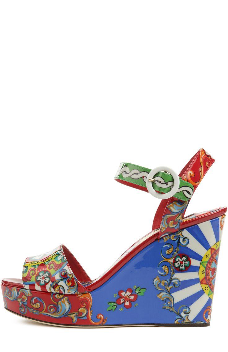 Dolce & Gabbana Босоножки на танкетке с принтом Carretto Siciliano Красный…