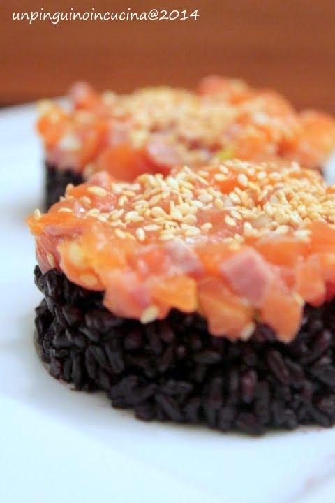 Un pinguino in cucina: Riso venere con tartare di trota salmonata - Black Rice with Salmon Trout Tartare