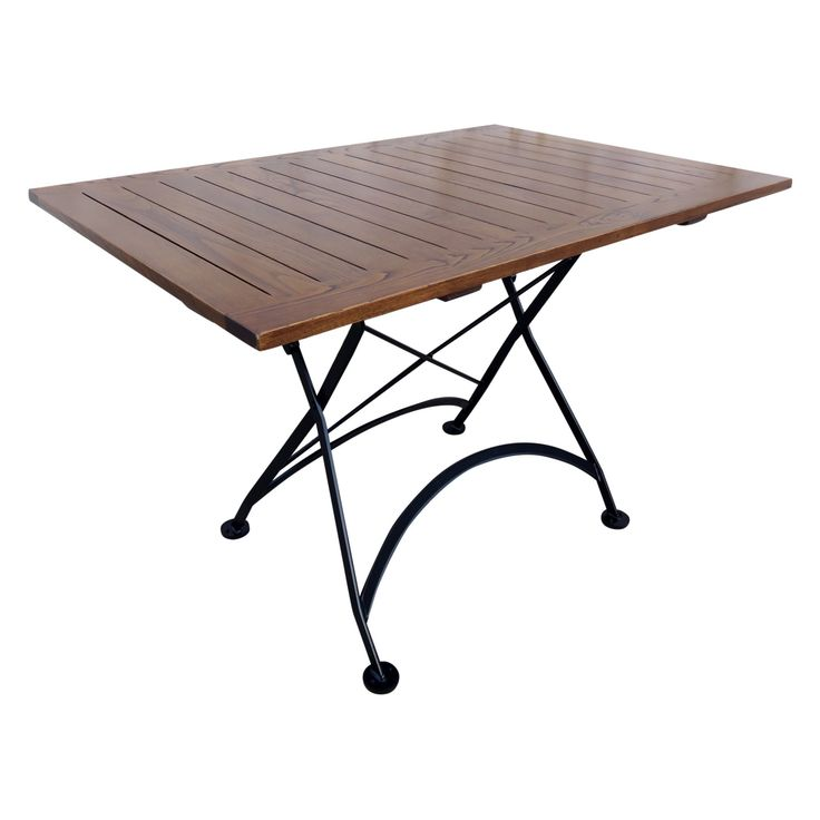 Furniture Designhouse French Cafe Bistro Rectangular Metal Folding Patio Dining Table with Chestnut Wood Top - 4111CW-BK