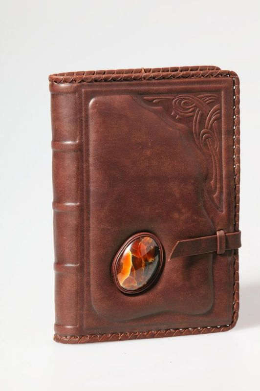 Handmade Leather Book Cover ~ Handmade leather notebook book cover diary stone of