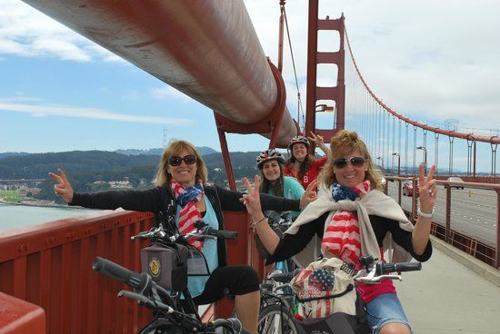 Crazy Golden Gate Bridge: tourists riding rental bikes that don't fit, one hand holding a selfie stick...   LEARN MORE: http://snip.ly/lmoj7?utm_content=buffere03f8&utm_medium=social&utm_source=pinterest.com&utm_campaign=buffer  #GoldenGateBridge #bicycle #tours #cycling #adventures #RoarAdventures #bikeyouradventure