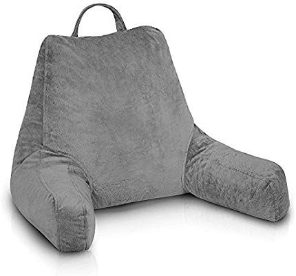 Soft Wedge Cushion Pillow for Reading TV Chair Backrest Bolster Cushion Gray