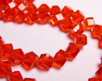 Trapano di cristallo sfaccettato cubo - 70 pezzi - filo pieno - 6 mm - una qualità - mandarino arancio - angolo