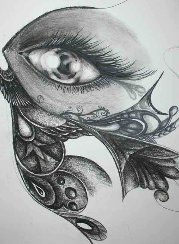 Butterfly eye 2010 - pencil and charcoal by Saysha  Nicolson - http://immortalart.co.za/
