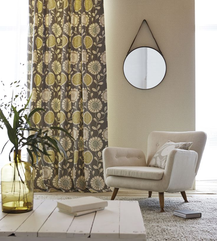 Floral retro style curtains and simple white furniture | Anneke Fabric by Scion | Jane Clayton