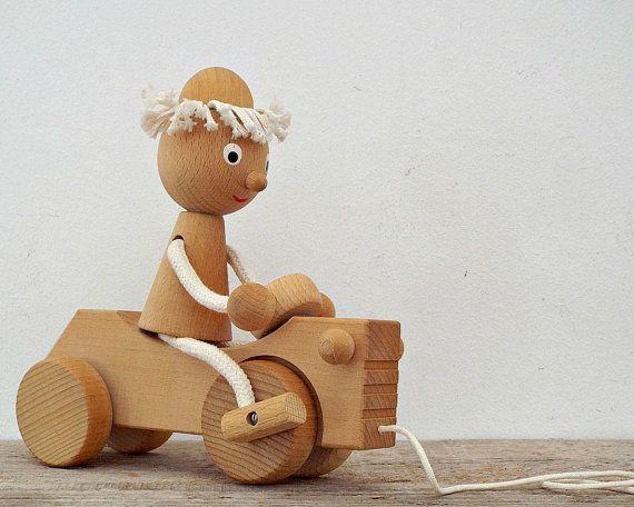 jouets en bois, enfants en bas âge, garçon fille, voitures automobiles, agriculteur tracteur, jouets à tirer en bois, pépinière anniversaire