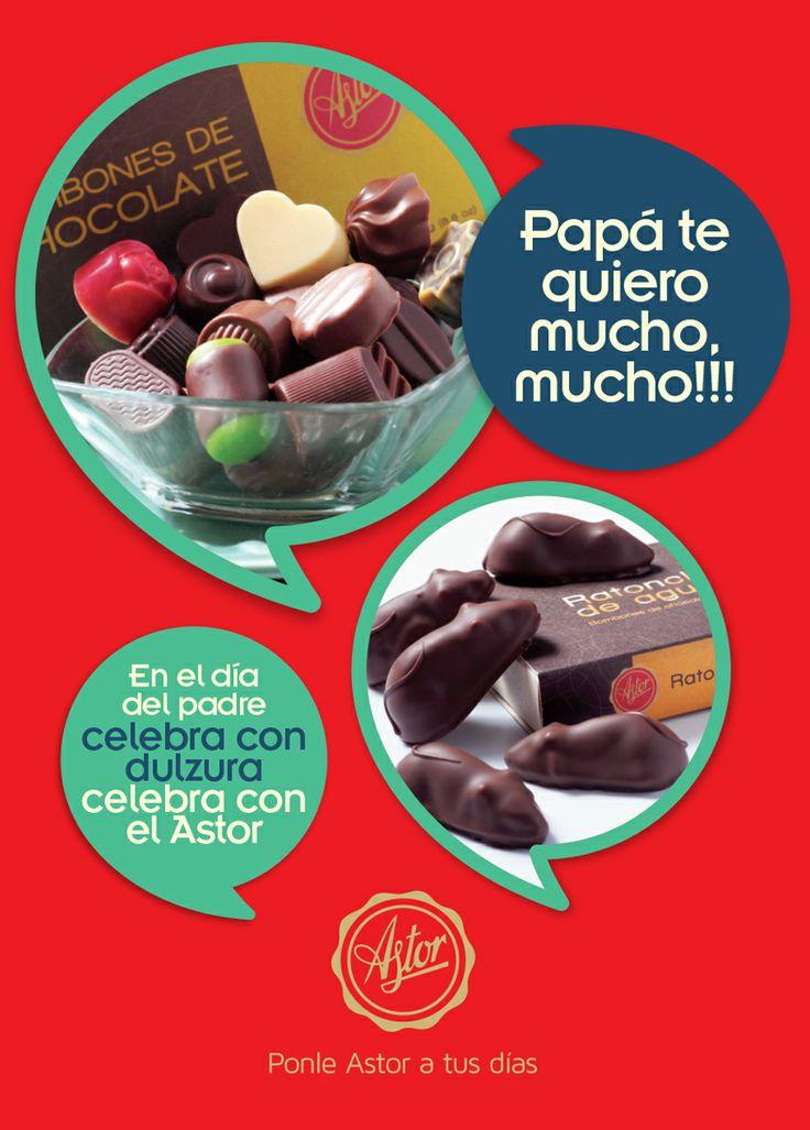 PAPÁ te quiero mucho, mucho!!! ... En el día del PADRE celebra con dulzura, celebra con la #reposteriaastor  www.elastor.com.co