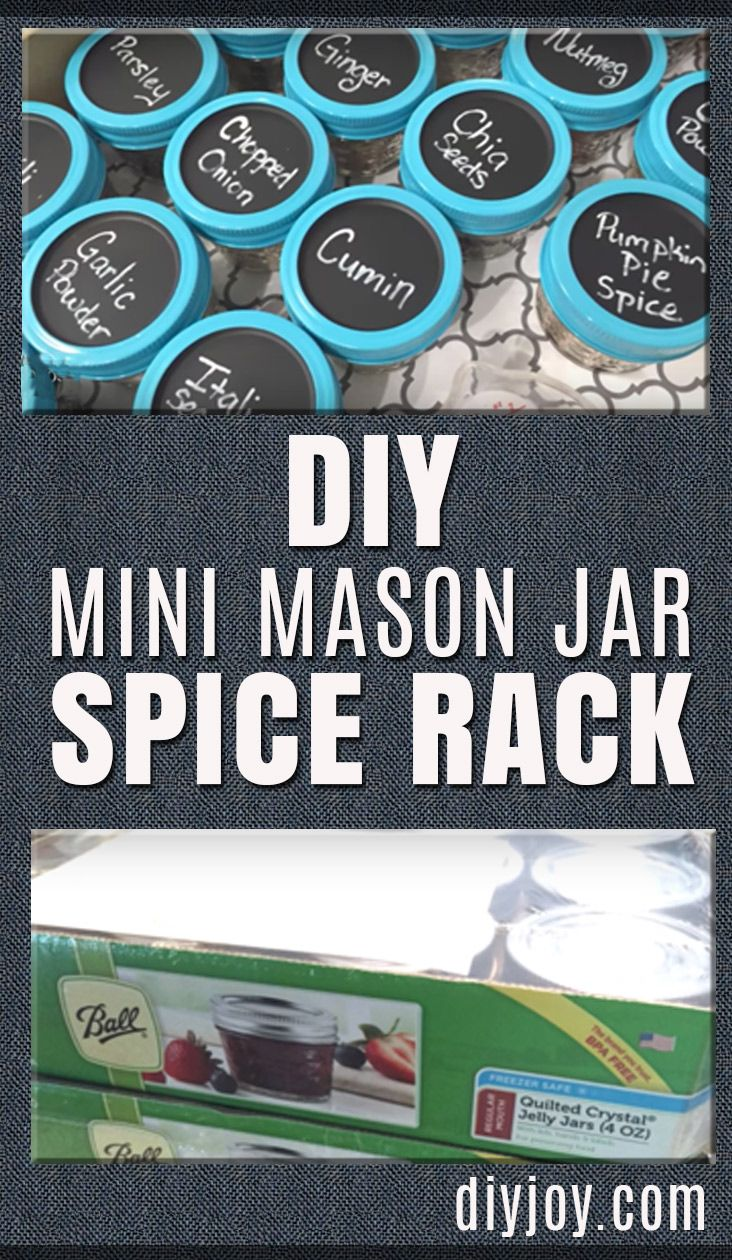 DIY Mason Jar Spice Rack - Easy DIY Projects and Crafts for the Kitchen and Home Decor - Cheap Decorating Ideas for Rustic Farmhouse Decor - Cool Organizing Hacks and Ways To Get Organized on A Budget