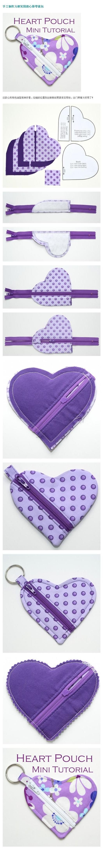 Conveniente e prático porta-moedas feitos à mão em forma de coração