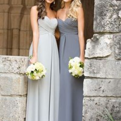 A line empire waist sweetheart silver chiffon long bridesmaid dress,custom made gray cheap bridesmaid dresses,simple maternity evening prom dress