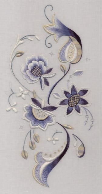Blue & white Jacobean embroidery by Trish Burr. Interestingly she combined a…