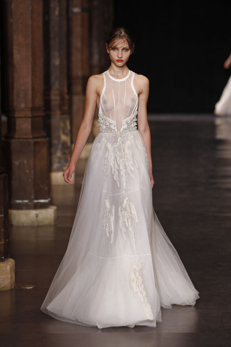 Floor length white couture gown