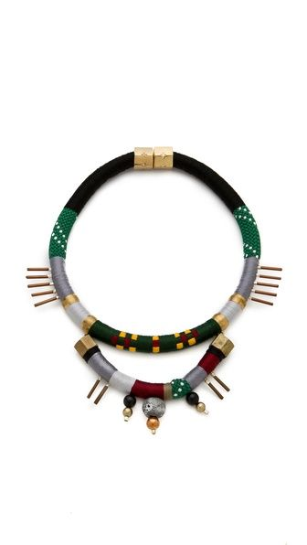 """Autumn Sunrise Necklace"" by Holst + Lee. Copper tubes spike out from the wrapped cords of a statement-making necklace. Beads dangle from the bottom tier, balancing the weighty magnetic clasp. Made in the USA, 395.00 usd MEASUREMENTS Length: 22in / 56cm Drop: 9in / 23cm"