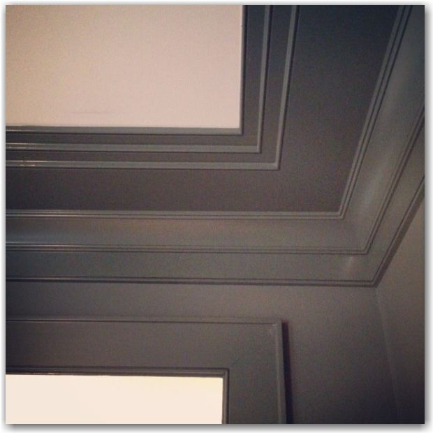 "ceiling trim idea. ""a simple beaded crown moulding and a small pencil moulding, combined with 1x4s and 1x6s in different applications to keep the house cohesive.""- The Painted House"