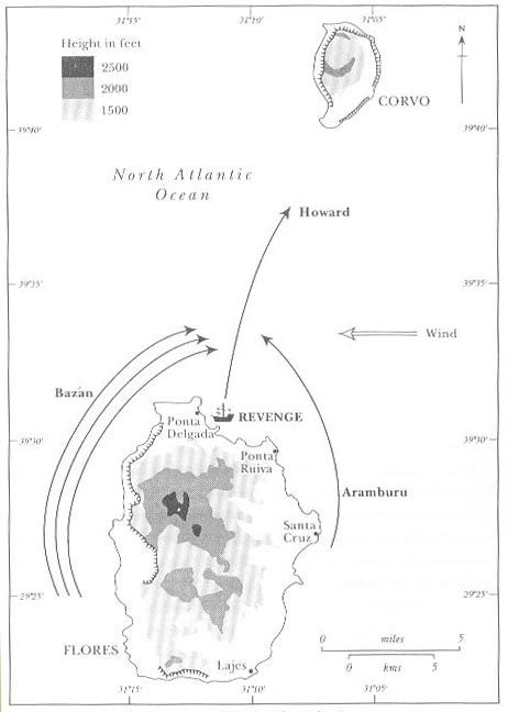 Revenge last fight, map - Battle of Flores (1591) - Wikipedia