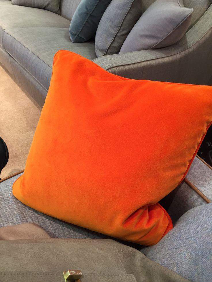 Bright orange velvet cushion multiyork