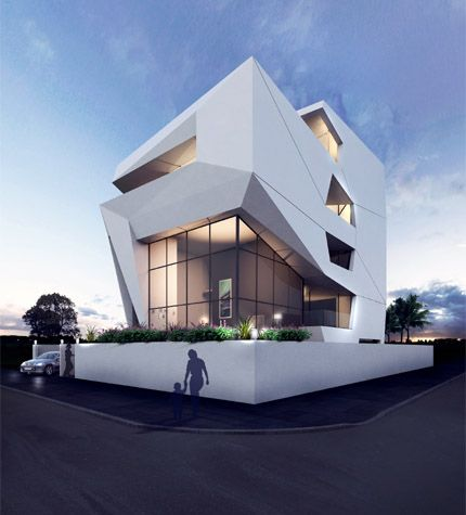 Sanjay Puri Architects ~ THE ORIGAMI HOUSE   Within a dense urban fabric, angular frames encapsulate fluid living spaces within them across three levels of this house with splayed volumes forming terraces at each level.