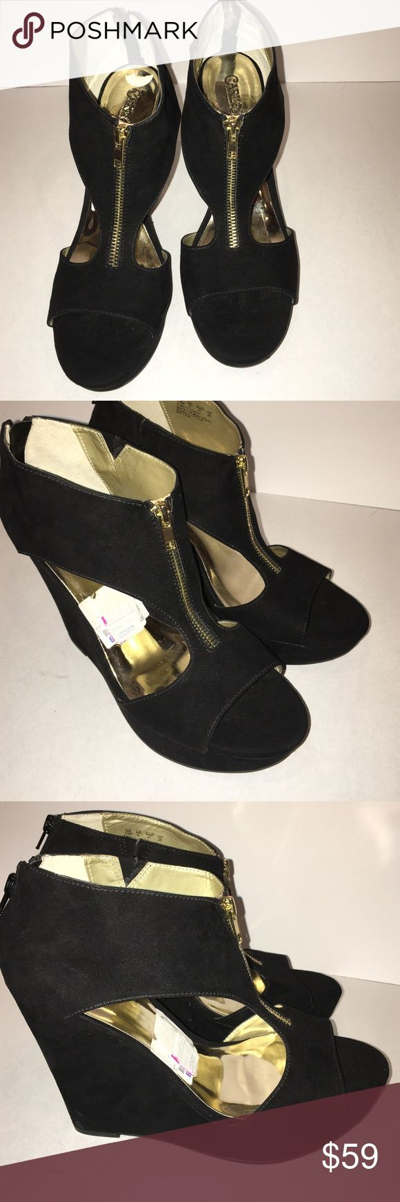 NWT Carlos by Carlos Santana Black Suede Platforms NWT but I do not have a box for them. The heels are 5 inches high. Black suede. Some elastic in the top to help the shoe stretch. Carlos Santana Shoes Platforms