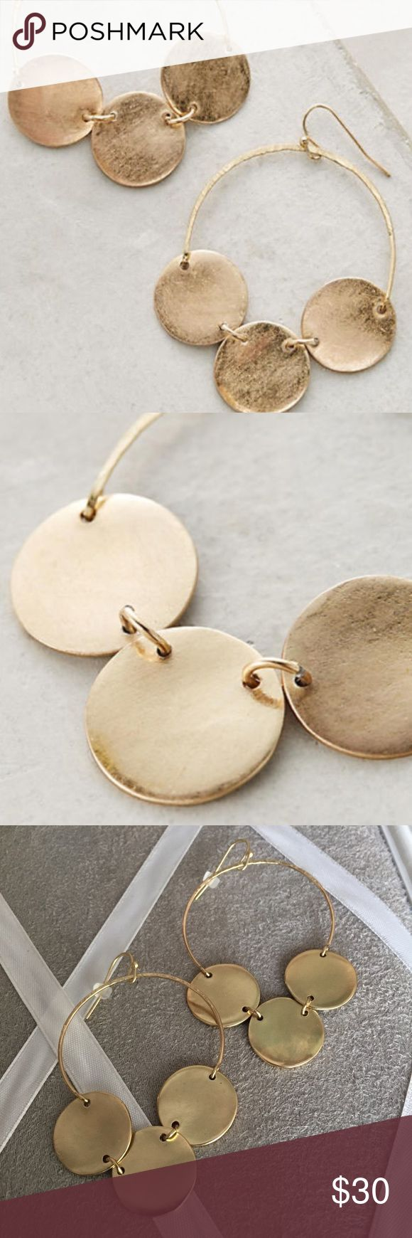 """anthropologie • little circles hoop earrings NWT • three little circles hoop earrings • gold metal • dimensions: 2"""" diameter • first two stock photos • no trades Anthropologie Jewelry Earrings"""