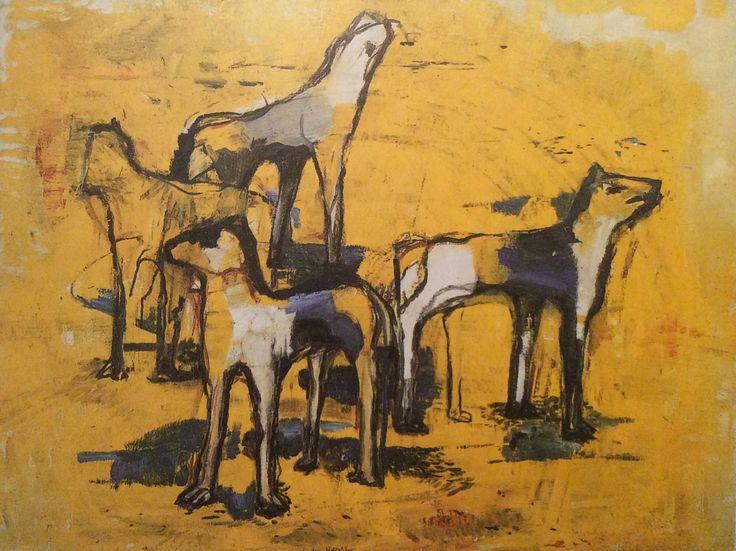 "Staffa Hallström: ""Ingens Hundar II"" 1958 Oil on canvas"