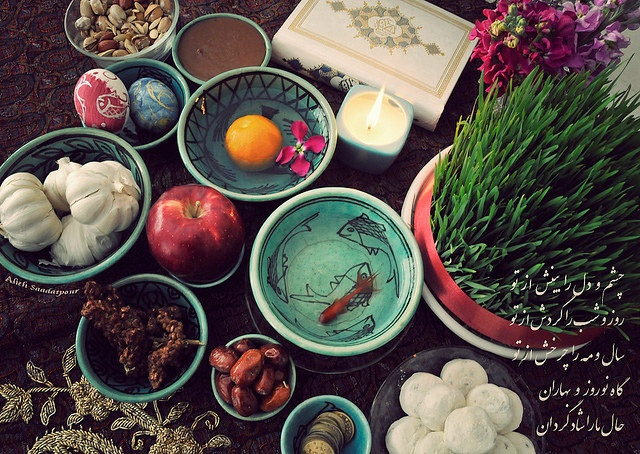 Haft-Seen (Persian) or the seven 'S's is a traditional table setting of Nowruz, the traditional Iranian spring celebration which is the first day of Persian calender. The haft seen table includes seven items all starting with the letter seen (س) in the Persian alphabet.