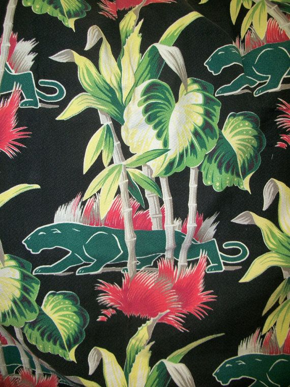 Vintage 40s Barkcloth Drape / Black Tropical by ClubVintage