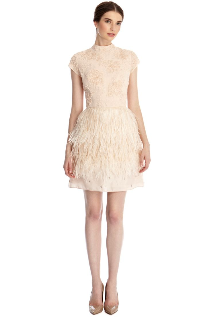 Blush Wedding Dress With Feathers : Images about second dress or after party on